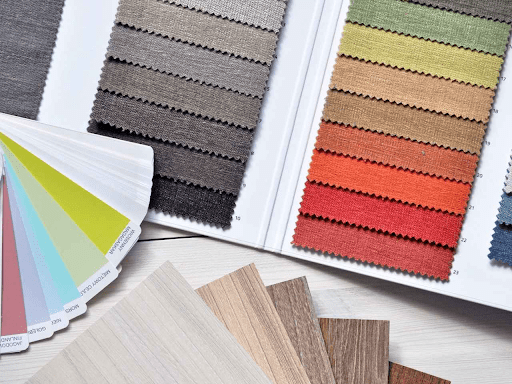 Display of color palette and wooden ply